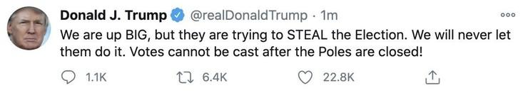 Pierwsza wersja tweeta Donalda Trumpa