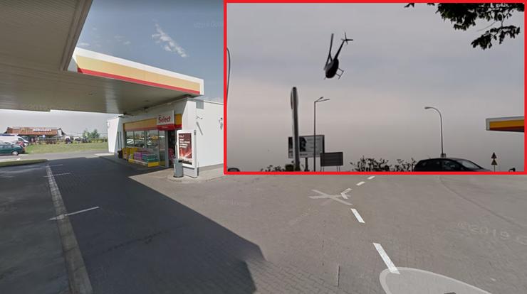 Helikopter zatankował… na stacji paliw